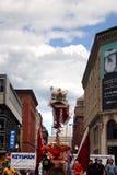 Danza de león en Chinatown, Boston durante la celebración china del Año Nuevo Imagen de archivo