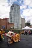 Danza de león en Chinatown, Boston durante la celebración china del Año Nuevo Fotos de archivo libres de regalías
