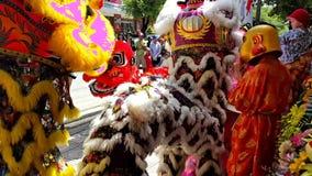 Danza de los muchachos del primer en Lion Dress de lujo por tráfico de la calle almacen de metraje de vídeo