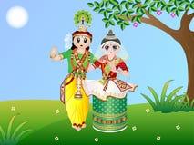 Danza de Manipuri stock de ilustración