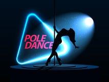 Danza de poste Plantilla del cartel del partido Aviador del baile de la noche Foto de archivo libre de regalías