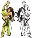 Danza de vientre con velo stock de ilustración