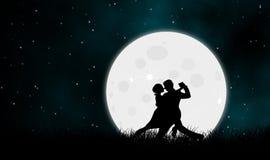 Danza del amante con la luna en grassfield en noche estrellada libre illustration