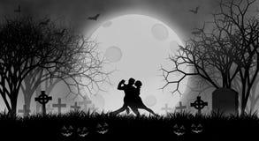 Danza del amante de Halloween antes de la Luna Llena en bosque espeluznante libre illustration