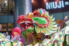 Danza del dragón y de león Fotografía de archivo