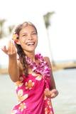 Danza del hula del baile del bailarín de Hula en Hawaii Imagen de archivo libre de regalías