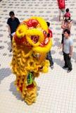 Danza del león que realiza postura vertical Fotografía de archivo