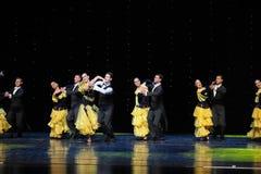 Danza del mundo de Austria francesa del cancán- de la falda- amarilla de oro Fotografía de archivo