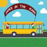 Danza del texto de la escritura bajo la lluvia El significado del concepto disfruta del baile feliz de las actividades infantiles stock de ilustración