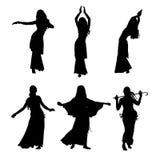 Danza del ventre di dancing della ragazza Siluetta della ragazza che balla ballo arabo Insieme delle siluette Illustrazione di ve Immagine Stock