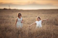 Danza emocional de dos muchachas de las hermanas en la puesta del sol foto de archivo libre de regalías