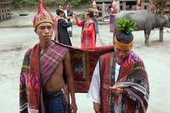 Danza nacional de Batak con el búfalo Foto de archivo