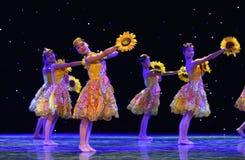 Danza popolare del cittadino della ragazza- del girasole Immagine Stock