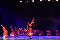 Danza popolare del ragazza-tibetano del pastore Fotografie Stock Libere da Diritti
