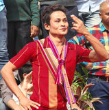 Danza popolare dell'Assam, India fotografie stock libere da diritti
