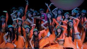 Danza popular: Carnaval de la muchacha de Mongolia Foto de archivo