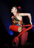 Danza popular china del grupo Foto de archivo