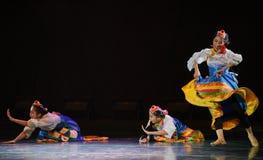 Danza popular nacional de Zhuoma-The de la muchacha tibetana Imágenes de archivo libres de regalías