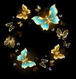 Danza redonda de mariposas de oro stock de ilustración