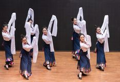 Danza tibetana de Guozhuang 28-Chinese - ensayo de la enseñanza en el nivel del departamento de la danza imagenes de archivo
