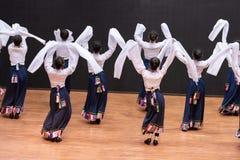Danza tibetana de Guozhuang 30-Chinese - ensayo de la enseñanza en el nivel del departamento de la danza fotos de archivo