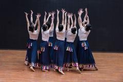 Danza tibetana de Guozhuang 14-Chinese - ensayo de la enseñanza en el nivel del departamento de la danza foto de archivo libre de regalías