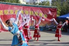 Danza tibetana de la danza de la mujer Fotografía de archivo libre de regalías