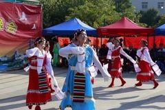 Danza tibetana de la danza de la mujer Imagen de archivo