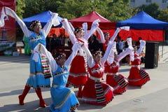 Danza tibetana de la danza de la mujer Imágenes de archivo libres de regalías