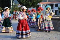 Danza tradicional peruana en el pueblo de Yanque, Perú Imágenes de archivo libres de regalías