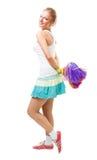 Danza y sonrisa del arranque de cinta de la aclamación de la mujer Imágenes de archivo libres de regalías