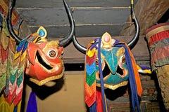 Danzas de la máscara, Bhután imagen de archivo
