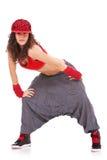 Danzatore con la protezione del luppolo dell'anca ed i grandi pantaloni Immagini Stock