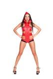 Danzatore in costume rosso della fase Immagine Stock