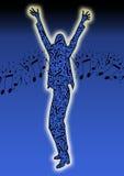 Danzatore d'ardore con le note musicali Fotografia Stock Libera da Diritti