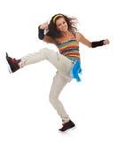 Danzatore della donna che dà dei calci e che balla Fotografia Stock Libera da Diritti