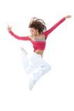Danzatore della donna che salta e che balla Immagine Stock