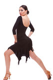 Danzatore della donna della salsa che fa un affondo Fotografie Stock
