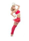 Danzatore della ragazza pon pon dal salto cheerleading della squadra Immagini Stock Libere da Diritti