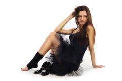 Danzatore di balletto femminile in vestito nero Immagini Stock