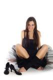 Danzatore di balletto femminile in vestito nero Fotografia Stock Libera da Diritti