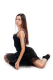 Danzatore di balletto femminile in vestito nero Fotografia Stock