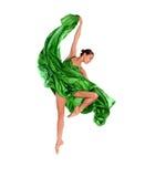 Danzatore di balletto in vestito dal raso di volo Fotografia Stock Libera da Diritti