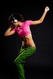 Danzatore di fascino in cuffie fotografia stock