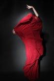 Danzatore di flamenco in vestito rosso Dancing della donna Fotografia Stock