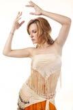 Danzatore di pancia isolato su bianco Fotografia Stock