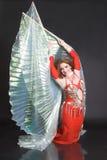 Danzatore di pancia nel colore rosso Fotografie Stock