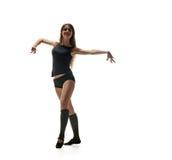 Danzatore grazioso della donna Siluetta di dancing Fotografie Stock Libere da Diritti