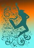 Danzatore a spirale contemporaneo, blu sull'arancio illustrazione di stock
