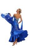 Danzatore in vestito blu-bianco fotografia stock libera da diritti